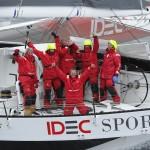 Maxi Trimaran IDEC SPORT, Skipper Francis Joyon and his crew, break the Jules Verne Trophy record, crew circumnavigation, in 40d 23h 30min 30sec, in Brest on January 26, 2017 - Photo Francois Van Malleghem / DPPI / IDEC Sport Celebration onboard
