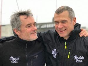 Transat AG2R. Gildas Mahé avec Thierry Chabagny sur Breizh Cola
