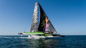 Trophée Jules Verne. Sodebo Ultim 3 en pleine préparation. Philippe Presti à bord.