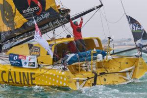 """Vendée Globe. Arrivée d'Arnaud Boissière : """" Quatre Vendée Globe, c'est génial !"""""""