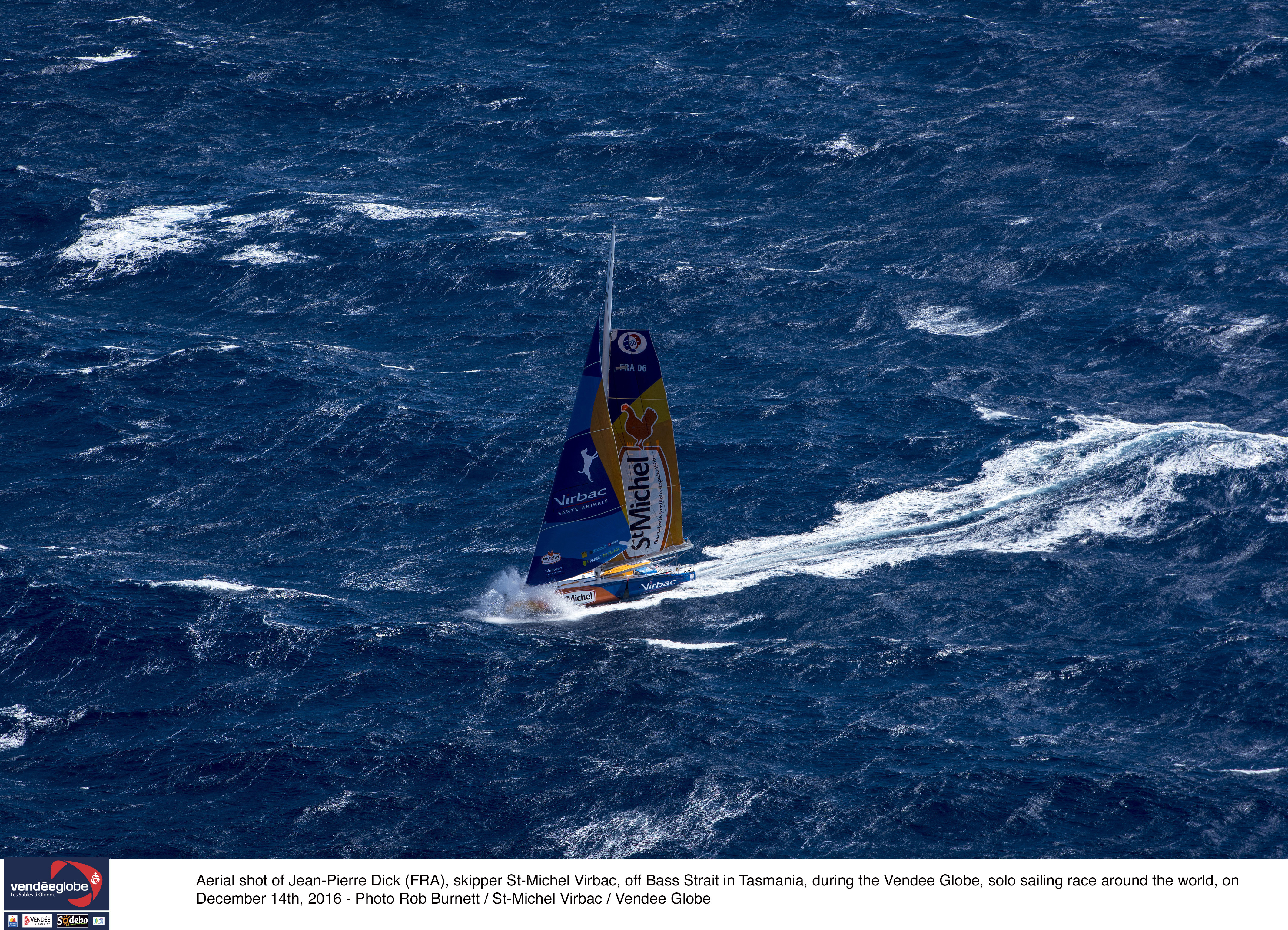 Aerial shot of Jean-Pierre Dick (FRA), skipper St-Michel Virbac, off Bass Strait in Tasmania, during the Vendee Globe, solo sailing race around the world, on December 14th, 2016 - Photo Rob Burnett / St-Michel Virbac / Vendee Globe Photo aérienne de Jean-Pierre Dick (FRA), skipper St-Michel Virbac, lors de son passage au détroit de Bass, Tasmanie, durant la course du Vendée Globe, le 14 Décembre 2016 - Photo Rob Burnett / St-Michel Virbac / Vendee Globe