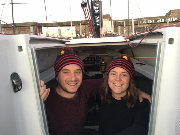 Amélie Grassi et Ambrogio Beccaria à bord de Mutuelle Bleue