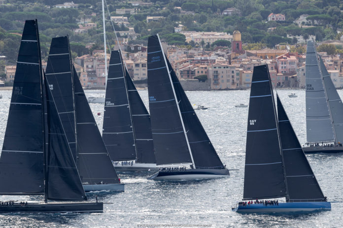 Sails of Saint-Tropez.  45 Maxis Yachts on the sand